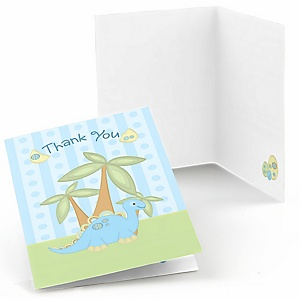 Baby Boy Dinosaur - Baby Shower Thank You Cards - 8 ct