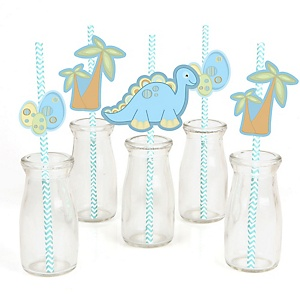 Baby Boy Dinosaur - Paper Straw Decor - Baby Shower Striped Decorative Straws - Set of 24