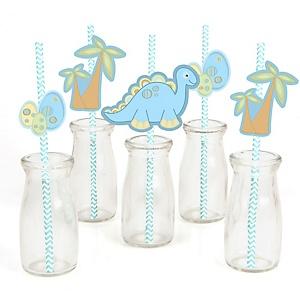 Baby Boy Dinosaur - Paper Straw Decor - Baby Shower Striped Decorative Straws - Set of 24