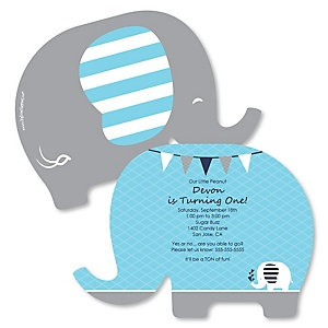 Blue Elephant - Shaped Boy Birthday Party Invitations - Set of 12