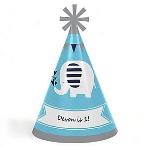 Blue Elephant - Personalized Cone Happy Birthday Party Hats for Kids and Adults - Set of 8 (Standard Size)