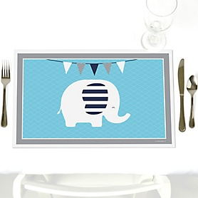 Blue Elephant - Party Table Decorations - Boy Baby Shower or Birthday Party Placemats - Set of 12