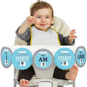Blue Elephant 1st Birthday - I am One - First Birthday High Chair Birthday Banner