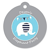Boy Elephant - Round Personalized Party Tags - 20 ct