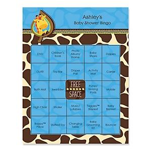 Giraffe Boy - Bingo Personalized Baby Shower Games - 16 Count