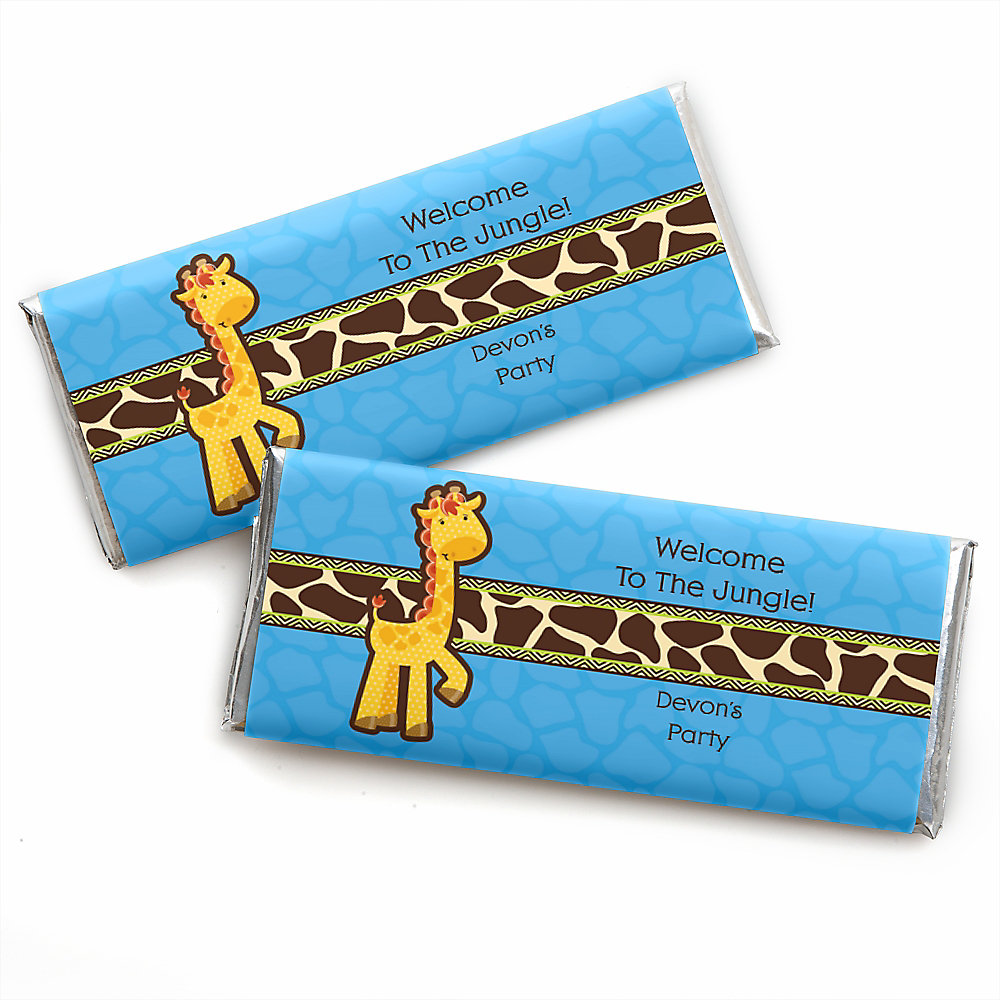 More Views. Giraffe Boy   Personalized Baby Shower Candy Bar Wrapper Favors  ...