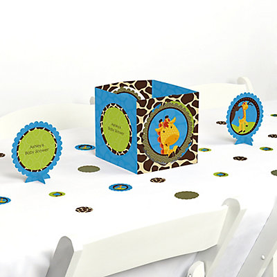 Giraffe boy baby shower table decorating kit for Baby boy shower decoration kits