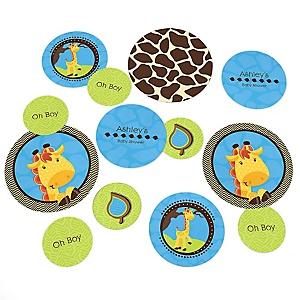 Giraffe Boy - Personalized Baby Shower Table Confetti - 27 ct