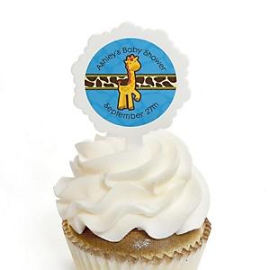 Giraffe Boy - 12 Cupcake Picks & 24 Personalized Stickers - Baby Shower Cupcake Toppers
