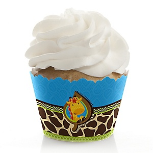 Giraffe Boy - Baby Shower Decorations - Party Cupcake Wrappers - Set of 12
