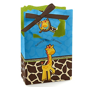 Giraffe Boy - Personalized Baby Shower Favor Boxes - Set of 12