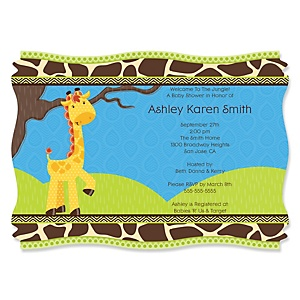 Giraffe Boy - Personalized Baby Shower Invitations - Set of 12