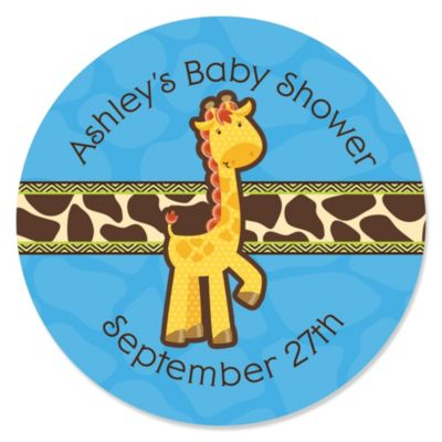 Giraffe Boy Personalized Baby Shower Sticker Labels 24 ct