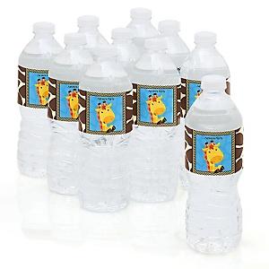 Giraffe Boy - Personalized Party Water Bottle Sticker Labels - Set of 10