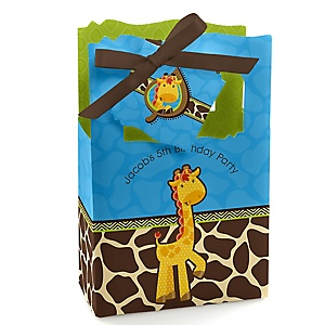 Giraffe Boy - Personalized Birthday Party Favor Boxes - Set of 12