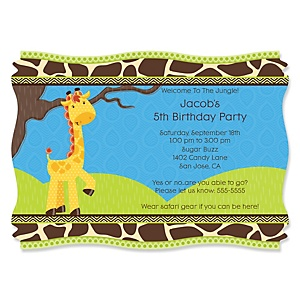 Giraffe Boy - Personalized Birthday Party Invitations - Set of 12
