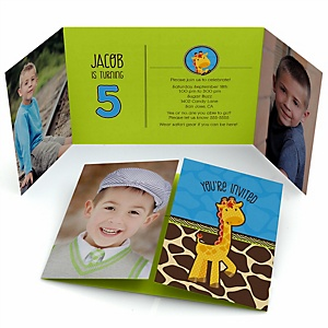 Giraffe Boy - Personalized Birthday Party Photo Invitations - Set of 12
