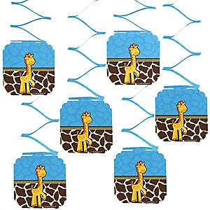 Giraffe Boy - Birthday Party Hanging Decorations - 6 ct
