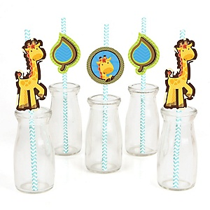 Giraffe Boy - Paper Straw Decor - Baby Shower or Birthday Party Striped Decorative Straws - Set of 24