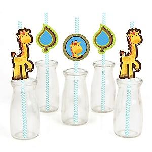 Giraffe Boy - Paper Straw Decor - Baby Shower or Birthday Party Striped Decorative Straws - Set of 24