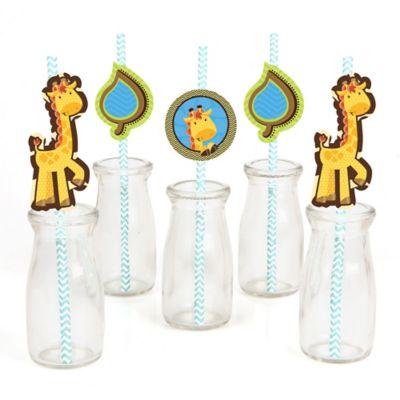 Giraffe Boy   Paper Straw Decor   Baby Shower Or Birthday Party Striped  Decorative Straws   Set Of 24