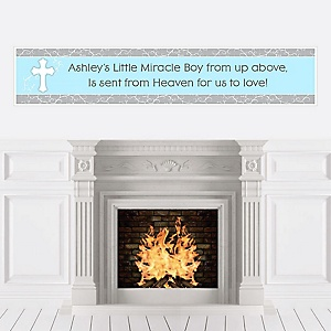 Little Miracle Boy Blue & Gray Cross - Personalized Baby Shower Banners