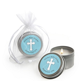 Little Miracle Boy Blue & Gray Cross - Personalized Baby Shower Candle Tin Favors - Set of 12