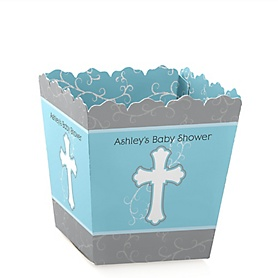 Little Miracle Boy Blue & Gray Cross - Party Mini Favor Boxes - Personalized Baby Shower Treat Candy Boxes - Set of 12
