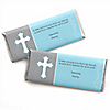 Little Miracle Boy Blue & Gray Cross - Personalized Candy Bar Wrapper Baptism or Baby Shower Favors - Set of 24