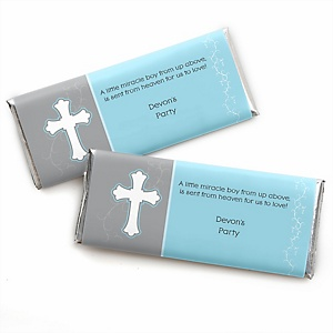 Little Miracle Boy Blue & Gray Cross - Personalized Baby Shower Candy Bar Wrapper Favors