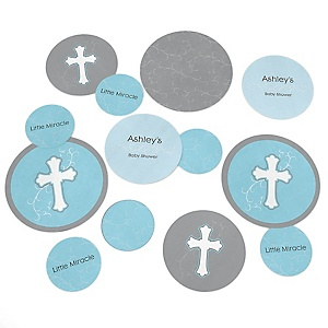 Little Miracle Boy Blue & Gray Cross - Personalized Baby Shower Table Confetti - 27 ct