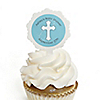 Little Miracle Boy Blue & Gray Cross - 12 Cupcake Picks & 24 Personalized Stickers - Baby Shower Cupcake Toppers