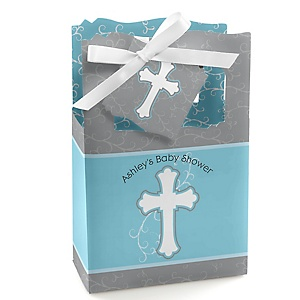 Little Miracle Boy Blue - Gray Cross - Personalized Baby Shower Favor Boxes - Set of 12