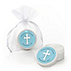 Little Miracle Boy Blue & Gray Cross - Personalized Baby Shower Lip Balm Favors - Set of 12