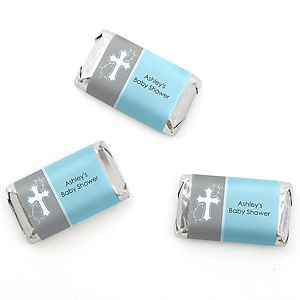 Little Miracle Boy Blue & Gray Cross - Personalized Baby Shower Mini Candy Bar Wrapper Favors - 20 ct