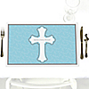 Little Miracle Boy Blue - Gray Cross - Party Table Decorations - Personalized Baby Shower Placemats - Set of 12