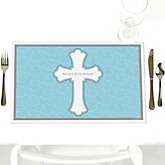 Little Miracle Boy Blue - Gray Cross - Personalized Baby Shower Placemats