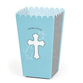 Little Miracle Boy Blue & Gray Cross - Personalized Party Popcorn Favor Treat Boxes