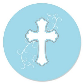 Little Miracle Boy Blue & Gray Cross - Baby Shower Theme