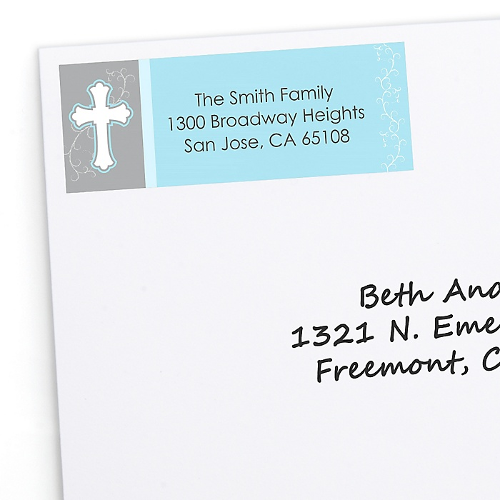 Little Miracle Boy Blue & Gray Cross - Personalized Baptism Return Address Labels - 30 ct