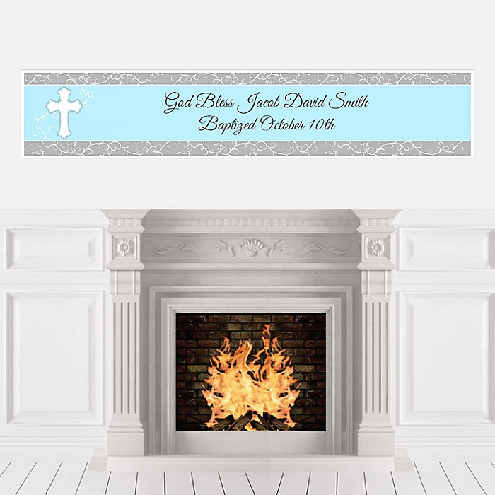 Little Miracle Boy Blue - Gray Cross - Personalized Baptism Banners