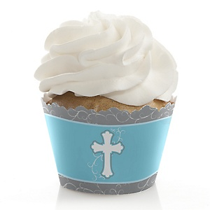 Little Miracle Boy Blue & Gray Cross - Baptism Decorations - Party Cupcake Wrappers - Set of 12