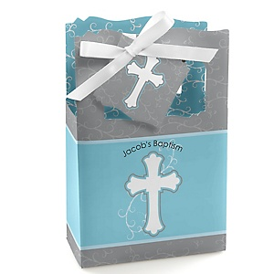 Little Miracle Boy Blue - Gray Cross - Personalized Baptism Favor Boxes - Set of 12