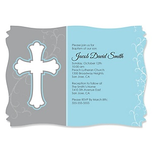 Little Miracle Boy Blue - Gray Cross - Personalized Baptism Invitations - Set of 12