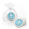 Little Miracle Boy Blue & Gray Cross - Personalized Baptism Lip Balm Favors