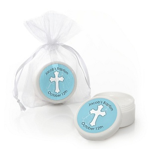 Little Miracle Boy Blue & Gray Cross - Personalized Baptism Lip Balm Favors - Set of 12