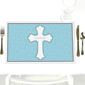 Little Miracle Boy Blue - Gray Cross - Party Table Decorations - Personalized Baptism Placemats - Set of 12