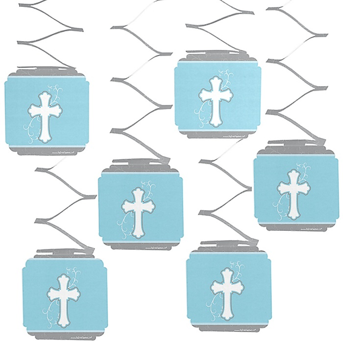 Little Miracle Boy Blue & Gray Cross - Baby Shower Hanging Decorations - 6 ct