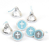 Little Miracle Boy Blue & Gray Cross - Round Candy Labels Party Favors - Fits Hershey's Kisses - 108 ct