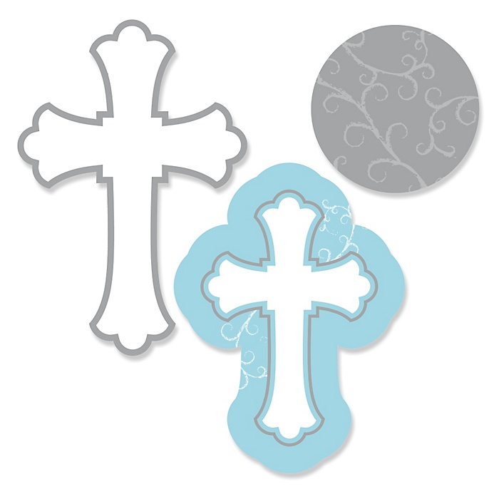 Little Miracle Boy Blue & Gray Cross - DIY Shaped Party Paper Cut-Outs - 24 ct
